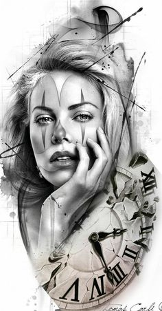 Top Canvas Designs Art Wallpaper Images for Womens Skull Girl Tattoo, Girl Face Tattoo, Girl Tattoos, Tattoos For Guys, Clock Tattoo Design, Tattoo Designs, Tattoo Sketches, Tattoo Drawings, Chicano Art Tattoos