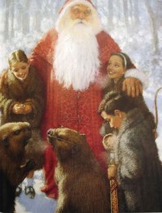 ts Father Christmas visits Narnia: Christian Birmingham for The Lion, the Witch and the Wardrobe picture book.