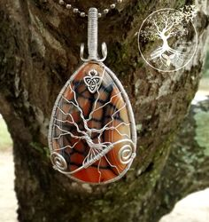 Tree of Life Necklace covering Fire and Black Dragon Vein Agate with Triquetra by TheSleepyFirefly