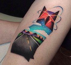 cat tattoo road