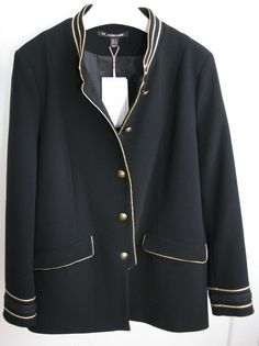 NWT ZARA Black Military Style Jacket with Gold Piping Detail Size XL Ref4661/204 #ZARA #Military #Casual