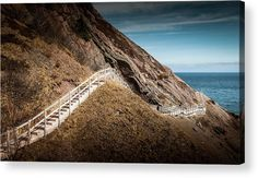 """Signal Hill Walkway, St. John's, Newfoundland #2 acrylic print by Mike Organ.   Bring your artwork to life with the stylish lines and added depth of an acrylic print. Your image gets printed directly onto the back of a 1/4"""" thick sheet of clear acrylic. The high gloss of the acrylic sheet complements the rich colors of any image to produce stunning results. Two different mounting options are available, see below."""