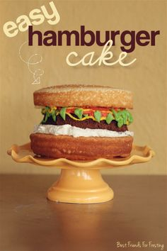 How to Make Easy Hamburger Cake & Cupcakes by Melissa Johnson of @Karri Best Friends For Frosting