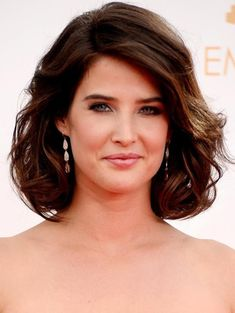 Cobie Smulders Short Haircut: Dark Brown Curly Bob Hairstyle for Thick Hair