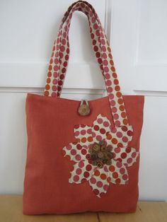 Orange Polka dot tote bag with antique by BerkshireCollections, $44.00
