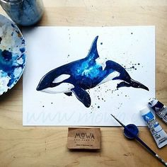 Orca Watercolour By @_mowa _