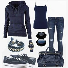 Blue casual outfit! #fashion find more women fashion on www.misspool.com