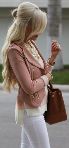 Blush blazer with gold.
