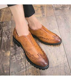 Men's leather slip on brogue V style, retro brogue, work, office, business occasions. Leather Chelsea Boots, Brown Leather, Sock Shoes, Shoe Boots, Louboutin Loafers, Mens Fashion Wear, Man Shoes, Handmade Leather Shoes, Formal Shoes For Men