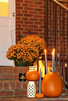 Make pumpkins into candle holders for your battery operated taper and pillar candles. So easy, but such a creative Halloween porch idea! Diy Wedding On A Budget, Diy Home Decor On A Budget, Mason Jar Crafts, Mason Jar Diy, Halloween Porch, Halloween 2016, Easy Crafts To Sell, Small Craft Rooms, Diy Home Accessories