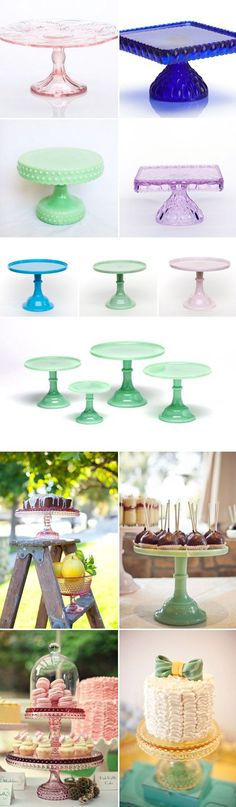 unique and colorful cake stands (and more) from Sweet and Saucy Supply Shop. I want one of each. For real!