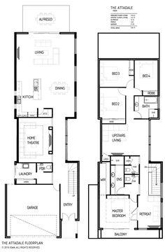 Two Storey House Plans, Narrow Lot House Plans, Duplex Design, Bungalow House Design, Home Design Floor Plans, House Floor Plans, House Plans Australia, Narrow House Designs, Architectural Floor Plans