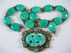 Antique Czech ART Nouveau Deco Peking Glass Necklace Czechoslovakia Enamel | eBay