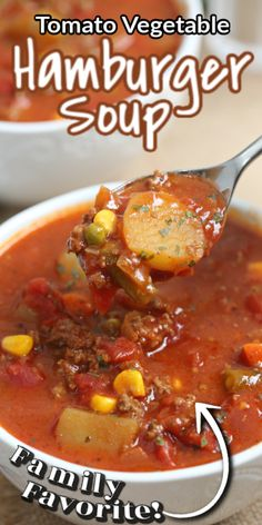 Hamburger Vegetable Soup, Homemade Vegetable Soups, Hamburger Stew, Tomato Vegetable, Homemade Soup, Tomato Beef Stew, Canned Tomato Soup, Simple Tomato Soup, Quick Soup Recipes