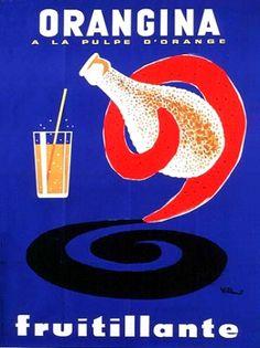 ¤ Orangina à la pulpe d'Orange. Bernard Villemot - 1964