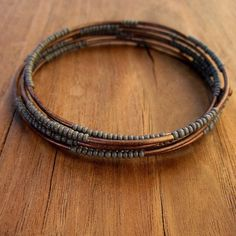 Beaded Gray and Copper Adjustable Memory Wire by studioRenee