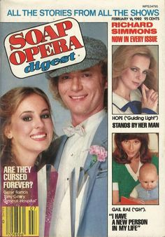Genie Francis & Tony Geary (Laura & Luke #GH) #GL 2/16/82 http://classicsodcovers.tumblr.com/