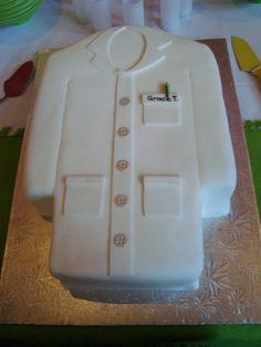 white lab coat cake