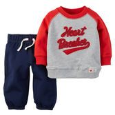 Stylish and sporty for Valentine's Day, this soft cotton terry set is perfect for your little heart breaker.<br>