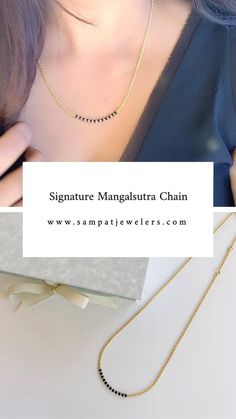 Signature mangalsutra chain is a partial black bead mangalsutra chain. Our Signature mangalsutra chain gives you the additional flexibility of being able to wear your own pendant. The most practical and versatile mangalsutra chain for a modern lifstyle. Special back hook design. 18K gold. Original design. Made with love. Indian Wedding Jewelry, Indian Jewelry, Mangalsutra Bracelet, Gold Mangalsutra Designs, Antique Jewellery Designs, Gold Jewelry Simple, Cute Necklace, Bridal Jewelry Sets, Necklace Designs