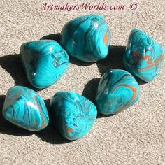 Faux turquoise polymer clay nuggets