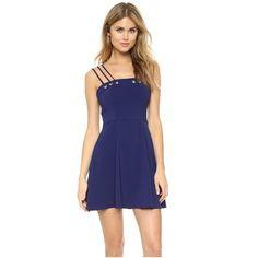 Amanda Uprichard Donna Dress ($210) ❤ liked on Polyvore featuring dresses, navy, circle skirt, blue skater skirt, navy skater skirt, navy eyelet dress and spaghetti strap dress