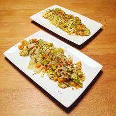 Poêlée de légumes d'automne, quinoa blanc et tofu mango.