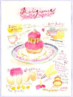 French religieuse recipe - Original watercolor painting