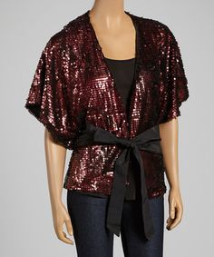 Bordeaux Sequin Tie-Waist Open Cardigan #zulily #zulilyfinds
