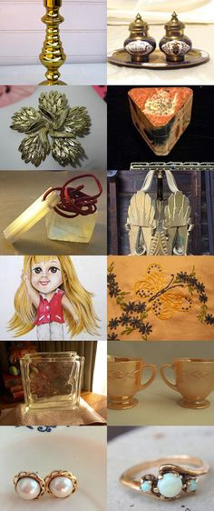 TeamVintageusa in Gold and White by Denise on Etsy--Pinned+with+TreasuryPin.com