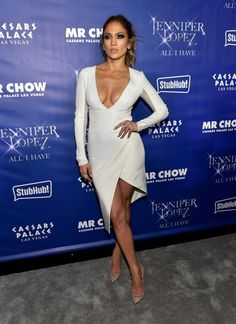 """The show may have been over, but that didn't stop Jennifer Lopez from putting on another show, donning a cleavage-baring white dress to the after party of her """"All I Have"""" residency show on Jan. 20, 2016."""