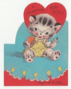Vintage Greeting CardValentine Cat Cute Kitten Die-Cut Rust Craft 1940sL32