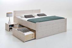 """Luisa Bett ll mit Unterbau  Das Bett """"Luisa"""" sorgt für ein natürliches Schlafambiente . Das Highlight bei diesem Modell - die verschieden großen Schubladen und Fächer, die Ihnen großzügigen Stauraum für Ihre..."""