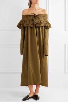 Isa Arfen - Off-the-shoulder Striped Cotton Dress - Sage green - UK10