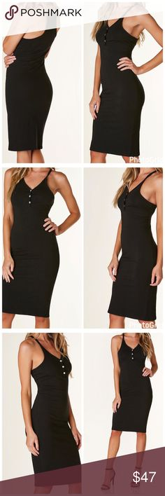 """🆕Black """"Lexy"""" Racerback Dress Black """"Lexy"""" Racerback dress. Midi in length plenty of stretch all around. Fits true to size. Material: Cotton/Spandex. Length: 38.5"""". Select buy now or add to bundle to checkout. Dresses Midi"""