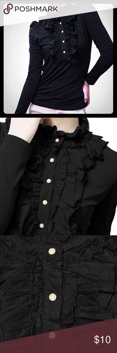 🔥👚💖New Ruffle Neckline Blouse New black long sleeve Ruffle neckline,half placket puff sleeves blouse. Allegra K Tops Blouses