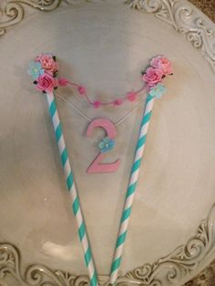 Shabby Chic Cake Bunting for Birthday Party With by JeanKnee, $12.00