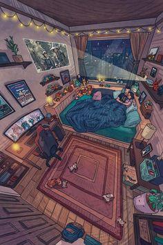 Aesthetic Art, Aesthetic Anime, Pretty Art, Cute Art, Night Illustration, House Illustration, Jr Art, 3d Home, Anime Scenery