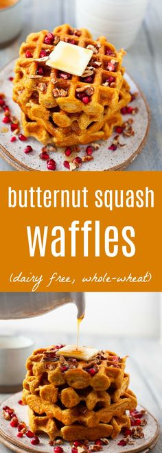 Personalized Graduation Gifts - Ideas To Pick Low Cost Graduation Offers A Festive Holiday Breakfast Or Brunch Dish, These Dairy Free Whole Wheat Butternut Squash Waffles Are Light, Fluffy, And Deliciously Sweet. Breakfast Waffles, Breakfast Buffet, Best Breakfast, Breakfast Ideas, Breakfast Recipes, Pancakes, Brunch Dishes, Brunch Recipes, Pumpkin Spice Syrup