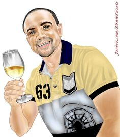 Handsome Guy Holding a Glass of Wine - An art piece inspired by the order from Andreasvau in I will hand draw cartoon avatar from your photo gig on Fiverr.com/DrawTweets #HandsomeGuy #GlassofWine #Caricature #Art #Drawing