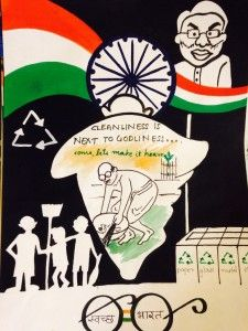 Niki Hingad Art Foundation (NHAF) in association with Indian Council for Cultural Relations (ICCR), an autonomous organization of the Government of India organized the fourth annual Inter School Drawing Competition 2015 titled 'Make In India' Art Clean India Posters, Save Water Poster Drawing, Independence Day Drawing, Poster Rangoli, Drawing Competition, Recycled Art Projects, Art Competitions, Pictures To Draw, Drawing Pictures