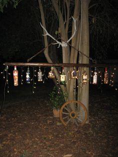 Rustic Hanging 9 Liquor Bottle Light on Etsy, $249.00
