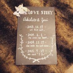 出会った日や付き合った日プロポーズされた日などの記念日をボードに飾るウェルカムアイテム『ラブストーリー』♡ちょっと恥ずかしいけど、ふたりの歴史をゲストに知ってもらいましょう*