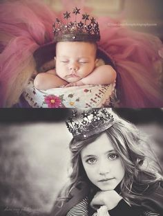 Newborn picture and 4 year Old picture in the Same theme