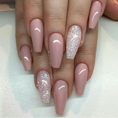pink nails with glitter accent / Nails Fancy Nails, My Nails, Nexgen Nails Colors, Vegas Nails, Gorgeous Nails, Pretty Nails, Fabulous Nails, Glitter Accent Nails, Baby Pink Nails With Glitter