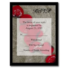 Red Rose Petals on Sand Beach Wedding RSVP Postcards