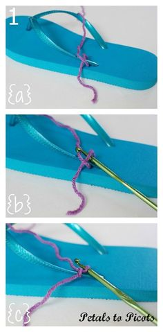 "crochet flip flop tutorial [ ""Crochet Flip Flops Tutorial with Flower Pattern - Petals to Picots"", "" Dress up your flip flops with this quick and easy tutorial. All you need is a pair of plain flip flops, some leftover yarn"" ] # # # # # # # # # Crochet Sandals, Crochet Boots, Crochet Slippers, Crochet Clothes, Crochet Shoes Pattern, Shoe Pattern, Crochet Patterns, Flower Patterns, Tongs Crochet"