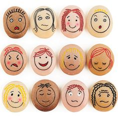EMOTION STONES - Add EMOTIONS to Sand and Water Play!  This unique and beautifully crafted set of stones are ENGRAVED with faces showing 12 common emotions: Happy; Sad; Angry; Frightened; Worried; Surprised; Confused; Bored; Calm; Proud; Shy; and Embarrassed.   The stones lay flat and include various SKIN TONES. The stones can be used on their own and are also ideal for use in sand and water. The faces are engraved and will therefore never wipe off or smudge.