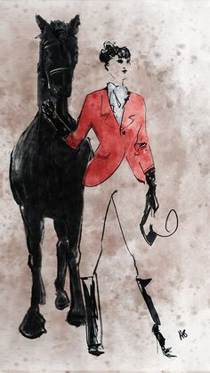 Hilbrand Bos | Fashion illustration - equestrian attire - girl with a horse