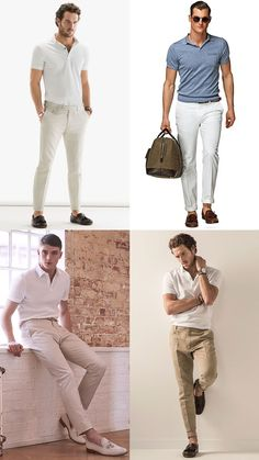 Men's Polo Shirt, Chinos and Loafers Outfit Inspiration Lookbook